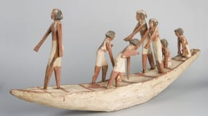 Ancient Egypt: An ancient egyptian model of people on a boat