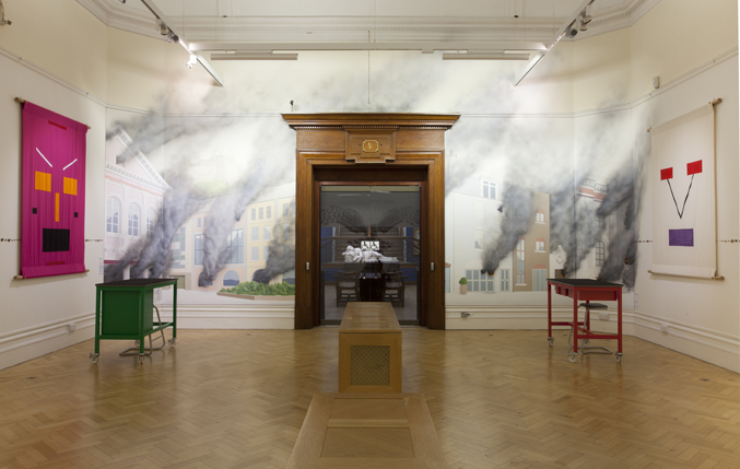 Photo of banners and murals at Jeremy Deller's English Magic exhibition at Bristol Museum & Art Gallery