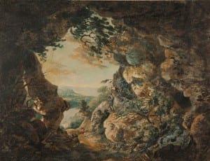 Watercolour of a cave by JMW Turner