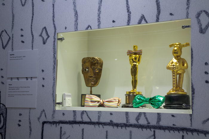 Photo of awards won by Wallace & Gromit in the exhibition at M Shed