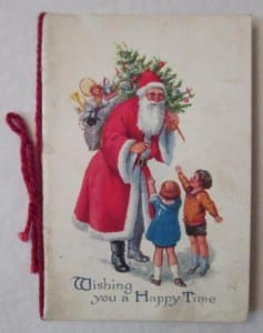 image of a christmas card with an illustration of santa and two children