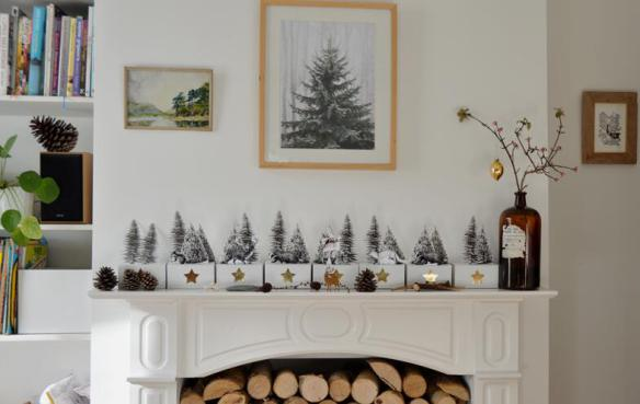 photograph of a mantelpiece with christmas decorations