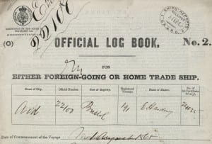 Detail from the logbook for the merchant ship Aid