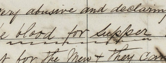 Detail of handwriting from the logbook for the merchant ship Aid