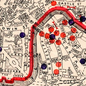 Detail of a map showing the bombardment of bristol