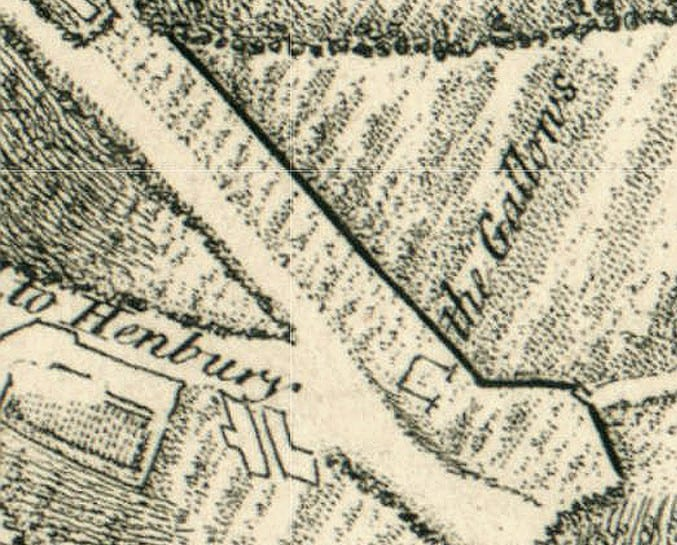 Image of a map from a petition to alter the place for public executions of criminals, 1773