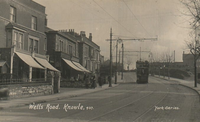 Image of a black and white postcard of Wells Road, Knowle