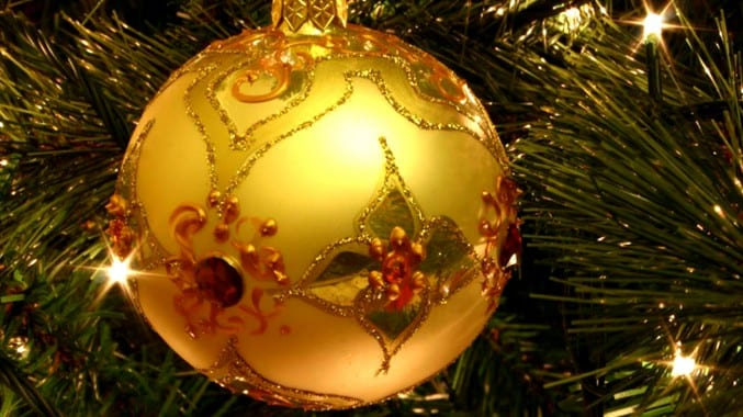 Image of a gold Christmas bauble