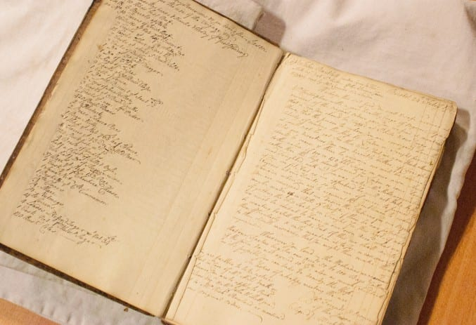 Photo of the account book of the Jason gally at Bristol Archives
