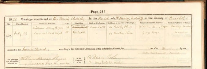Photo of a marriage register from Bristol in 1871