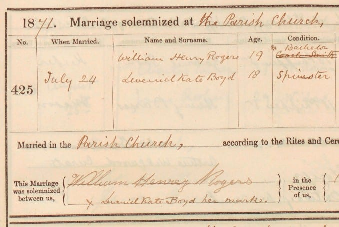 Photo of a marriage register from Bristol in1871