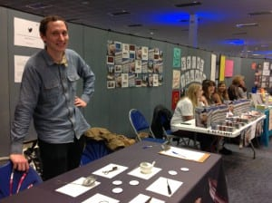Photo of a man at the Bristol Museums stand at the UWE volunteer fair