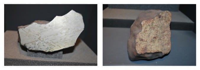 Meteorites from the museum's collection on display in the geology gallery at Bristol Museum & Art Gallery: Iron/Nickel (on the left) and Stony (on the right).