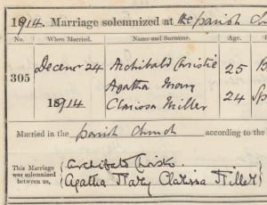 Agatha Christie's marriage register