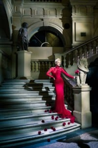 Photo of a lady in a long red dress standing on the staircase at Bristol Museum