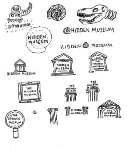Sketches for the Hidden Museum logo