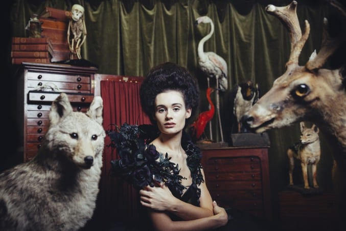 Photo of a woman sat within taxidermy animals and skeletons