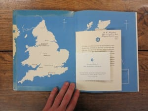 Photo of an open book showing a map of England