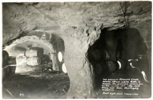 Black and white image of inside the cave complex near Redcliffe
