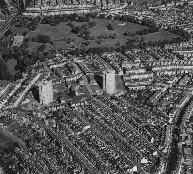 Aerial view of Bedminster, showing part of St John's Lane, Victoria Park and surrounding area