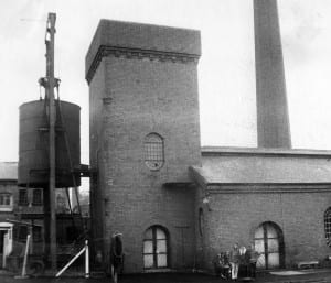 The hydraulic accumulator and engine house at Underfall Yard, as it was in 1967. This photo was taken as part of an industrial archaeology project at Hartcliffe School.