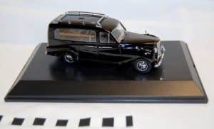 Photo of a toy/collectible model hearse car