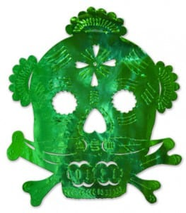 A green foil cut-out of a skull and crossbones