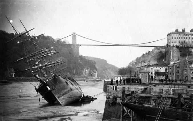Photo of The Importer aground outside Cumberland Basin, November 1885. You can see the figurehead at the front.