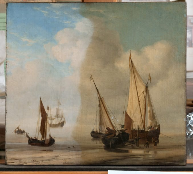 Willem van de Velde's A 'Smalschip' with Sail Set at Anchor Close to the Shore, and a 'Boier' Laid Ashore (1650-60) during conservation