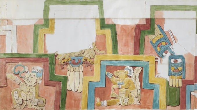 A colour copy of the wall paintings in temples in ancient Mexico