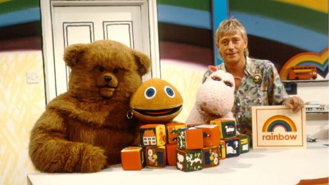 Cast from Rainbow - Bungle, George, Zippy and Geoffrey Hayes