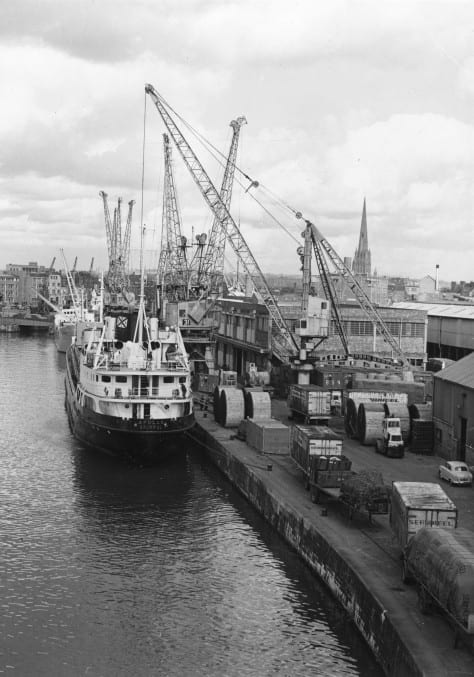 Black and white image of the first purpose-made container berth in Bristol