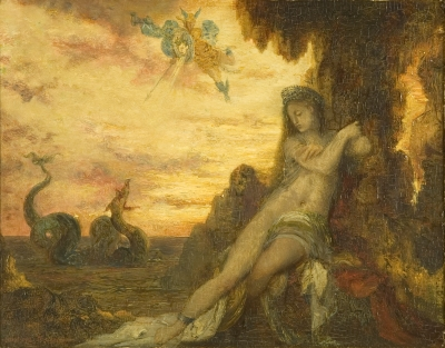 Painting by Gustave Moreau showing Perseus saving Andromeda from the monster Cetus
