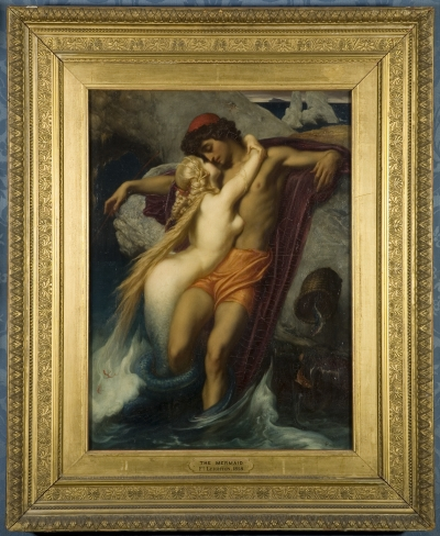 Painting by Lord Frederic Leighton showing a siren luring a fisherman to his death