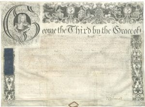 Royal licence, issued to the theatre by George III in 1778. The theatre was operating illegally until this was awarded