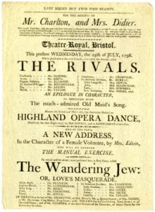 Playbill for 'The Rivals', 1798. The playbills are printed on thin, fragile paper and will be digitised and protected through this project