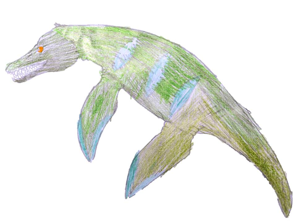 A Pliosaur designed to have blue and green scaly skin.