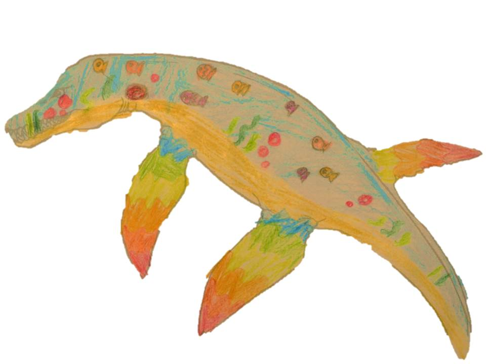 A Pliosaur designde to have orange skin, with green stripes and red dots.