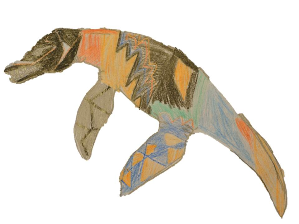 A Pliosaur designed to have a mix of blue, brown and orange scaly skin.