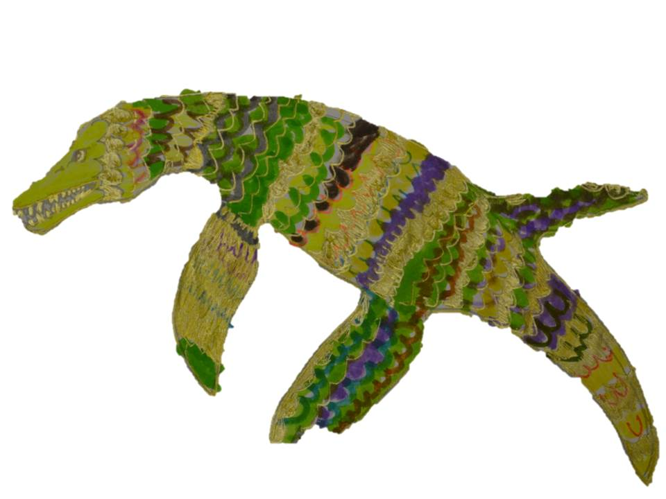 A detailed Pliosaur designed to have green, brown and purple scaly skin.