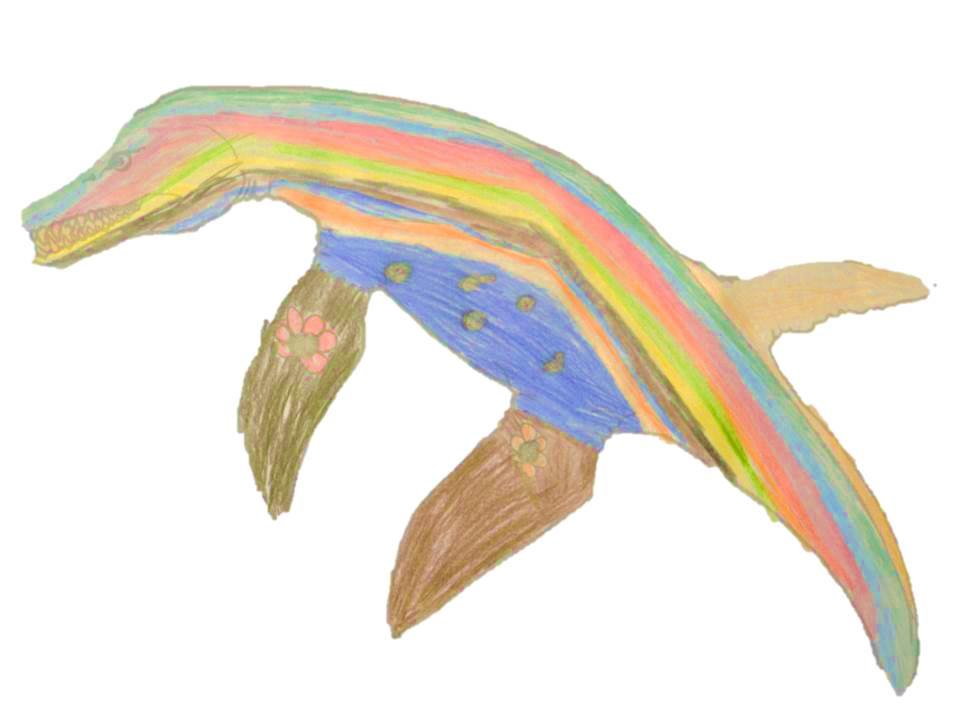 A Pliosaur designed with almost rainbowed colour skin including green, orange, brown and blue stripes, with a spotty belly.
