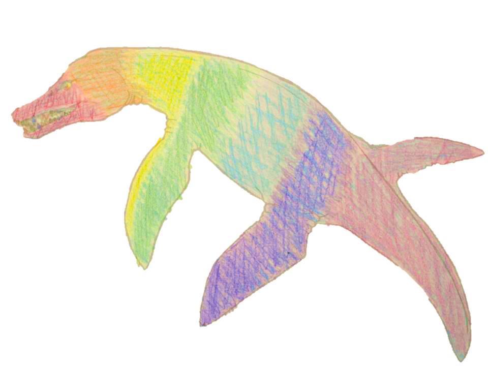 A rainbow Pliosaur design with stripes of every colour.