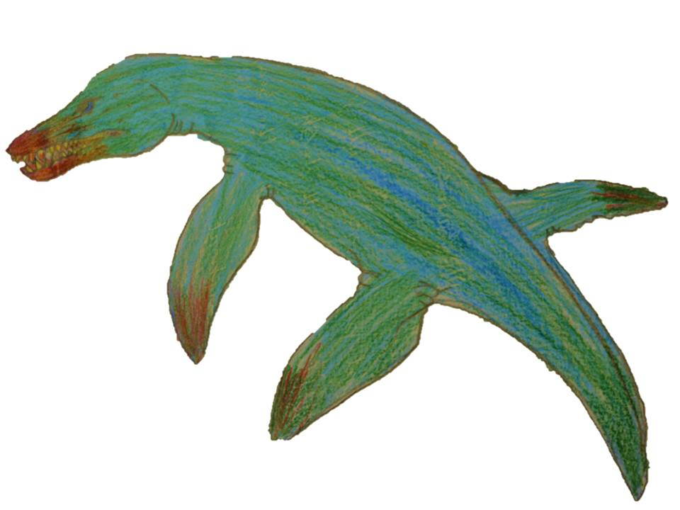 A Pliosaur design with green scaly skin and brown detailing on the jaw and flippers.