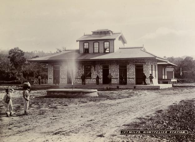 Photograph showing the Montpelier Railway Station, Jamaica