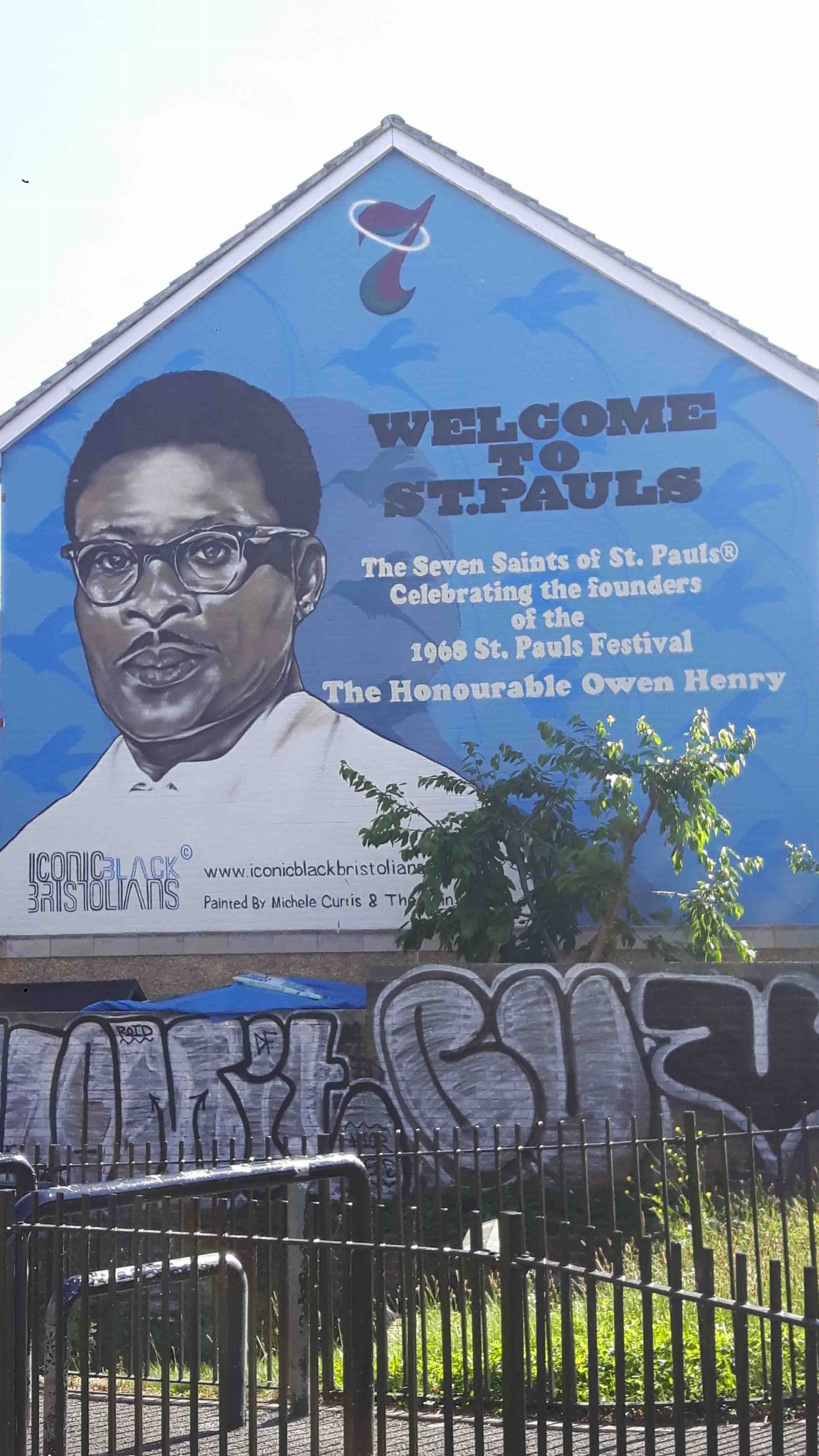 Graffiti image of Owen Henry who was connected with the Bristol Bus Boycott and setting up St. Paul's Carnival.