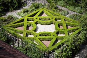 A view of the knot garden from above