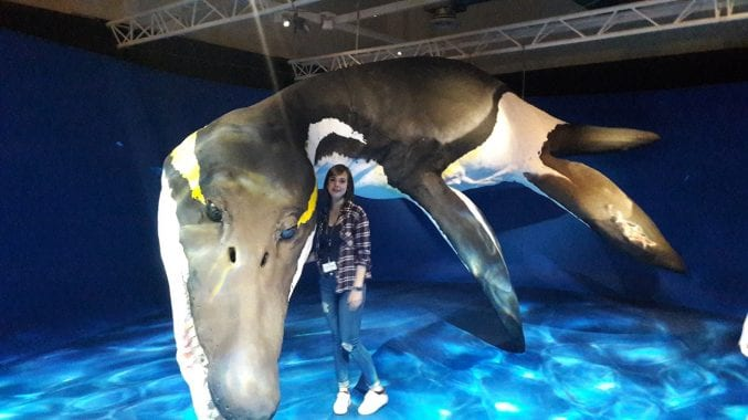 Erasmus student Giulia stood next to Doris the Pliosaurus