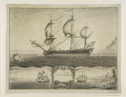 The Blandford Frigate, by Nicholas Pocock, 1760. This image illustrates the narrative of the transatlantic slavery through the border drawings depicting the ship: On the passage to the West Indies and On the coast of Africa trading