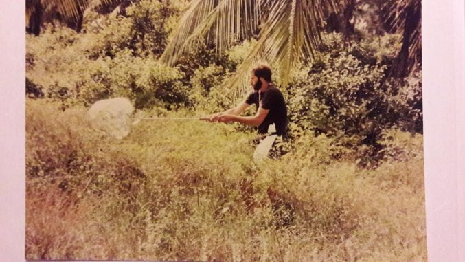 Ray collecting insects for the Natural History Museum, London, by 'sweeping'.  Kenyan coast near Gazi summer 1982.