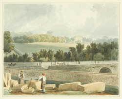 Drawing/watercolour by Samuel Jackson. View of Tyndall's House from Park Place, showing Whiteladies Road.